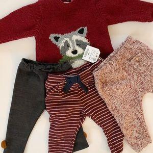 Zara baby girl sweater and pants bundle